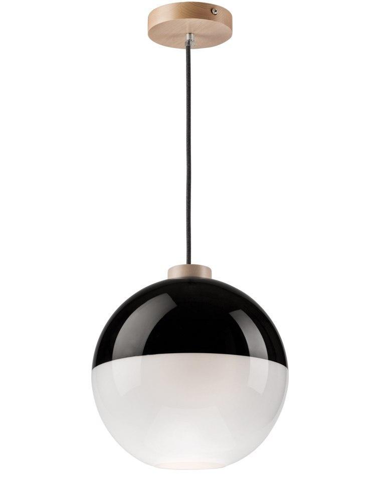 Skleplamp Wyprzedaż Nowoczesna Lampa Wisząca Szklana Kula Czarna Biała 30cm